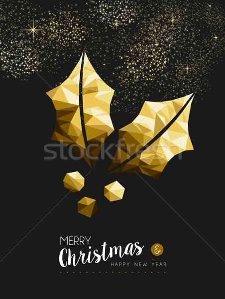 Merry christmas happy new year golden holly low poly Stock photo © cienpies