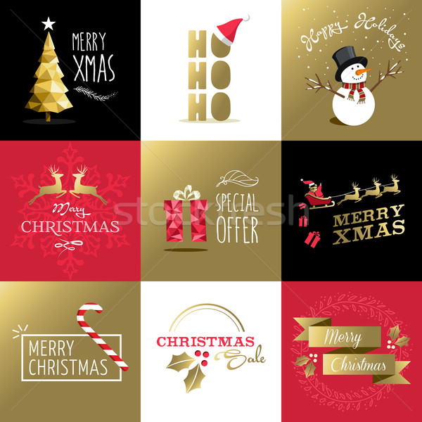 Merry christmas set gold card label xmas holiday Stock photo © cienpies