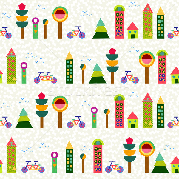 Seamless pattern city background geometry colorful Stock photo © cienpies