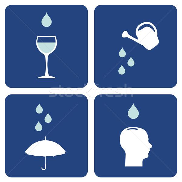 Eau soins icônes environnement pictogrammes importance Photo stock © cienpies