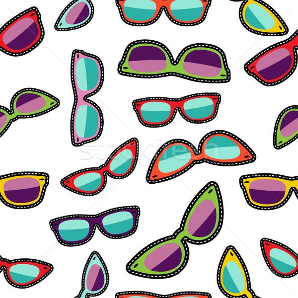 Hipster cartoon sunglass seamless background Stock photo © cienpies