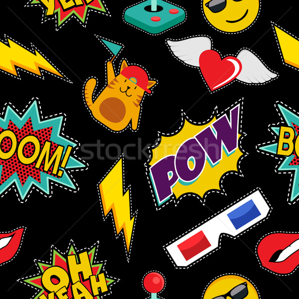 Stitching patches retro pop icons seamless pattern Stock photo © cienpies