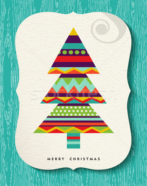 Merry Christmas Pine tree design in fun colors Stock photo © cienpies