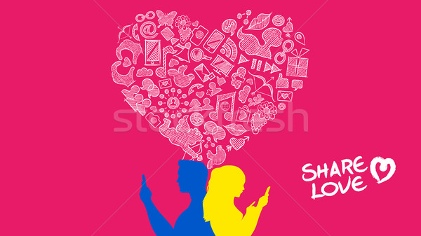 Social media young couple internet love design Stock photo © cienpies