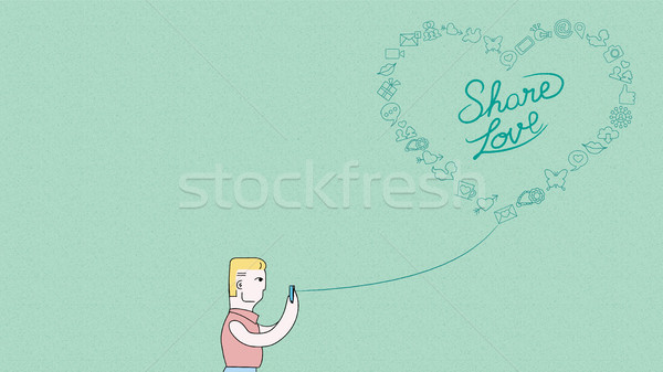 Man online telefoon social media liefde ontwerp Stockfoto © cienpies