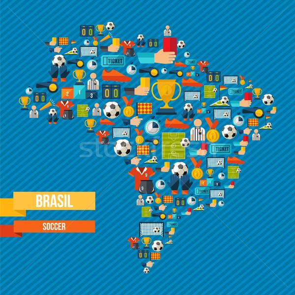 Foto stock: Brasil · futebol · mapa · esportes · jogo · ícones