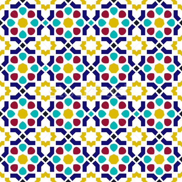 Mosaic tile arabic seamless pattern background Stock photo © cienpies
