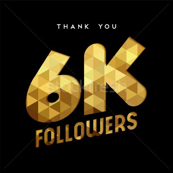 Altın Internet takipçi numara teşekkür ederim kart Stok fotoğraf © cienpies