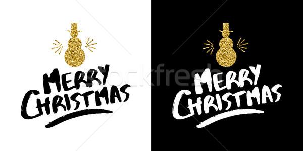 ストックフォト: クリスマス · 金 · グリッター · 手描き · 休日 · 引用