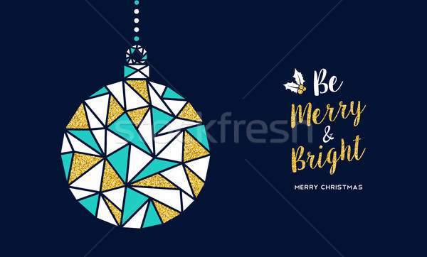 Merry Christmas gold glitter bauble greeting card Stock photo © cienpies