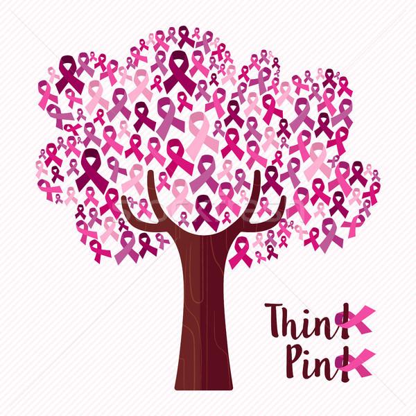 乳癌 認知度 月 ピンクリボン ツリー 芸術 ストックフォト © cienpies