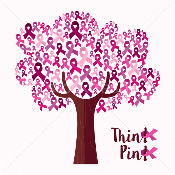 Breast cancer awareness month pink ribbon tree art Stock photo © cienpies