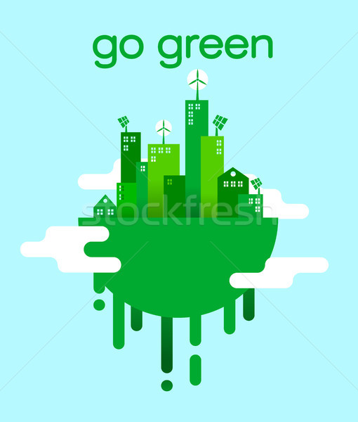 Go green concept of eco friendly city lifestyle Stock photo © cienpies