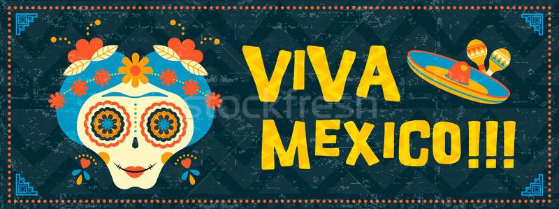 Cinco de mayo mexican sugar skull web banner art Stock photo © cienpies
