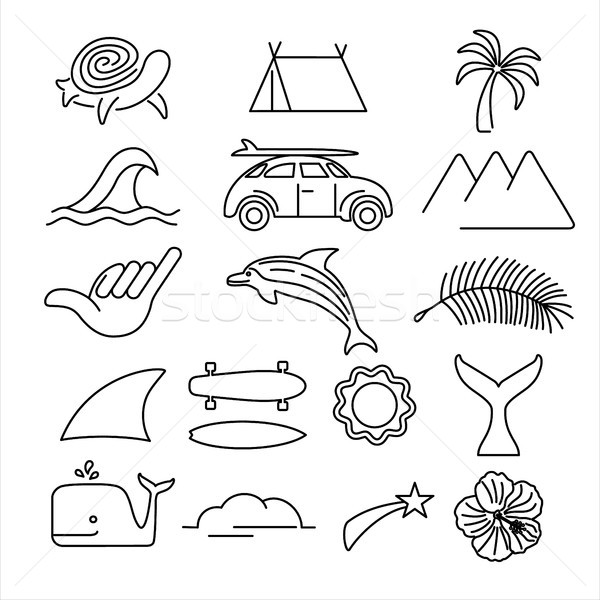 Summer beach surf icon set in line art style Stock photo © cienpies