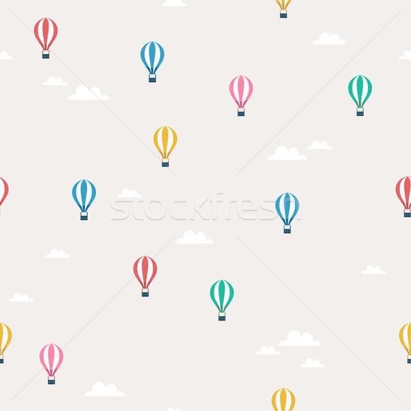 Stock photo: Air balloon flying in the sky seamless pattern