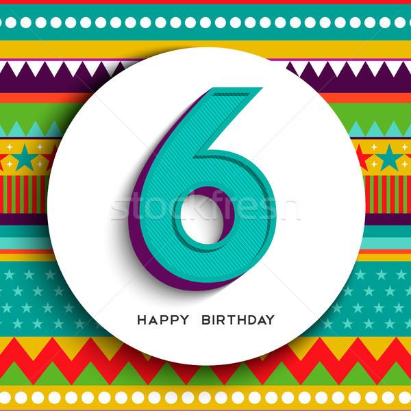 お誕生日おめでとうございます 6 年 子供 グリーティングカード 年 ストックフォト © cienpies