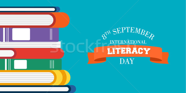 Literacy Day design of education books for kids Stock photo © cienpies
