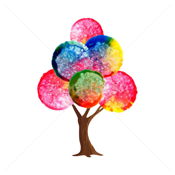 Watercolor tree concept for environment care Stock photo © cienpies