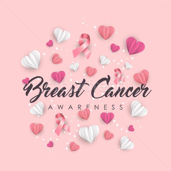 Breast Cancer Awareness paper cut heart shape card Stock photo © cienpies