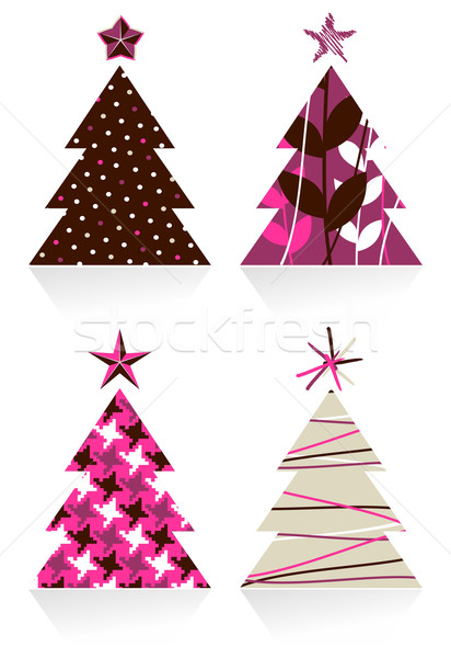 Stock photo: Christmas trees made with different textures design