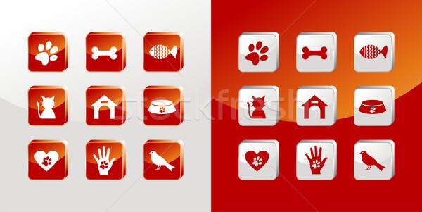 уход за домашними животными иконки стекла набор свет Сток-фото © cienpies