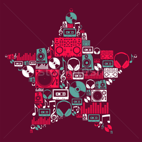 Dj Music icons star Stock photo © cienpies