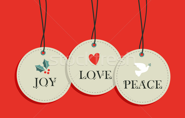 Christmas hang tags sale elements set Stock photo © cienpies