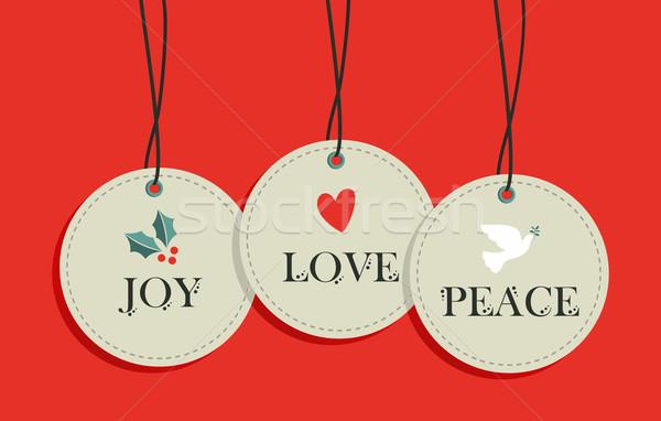 Foto stock: Navidad · etiquetas · venta · elementos · establecer · alegre