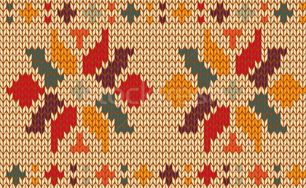 レトロな フローラル 編まれた パターン ヴィンテージ ストックフォト © cienpies