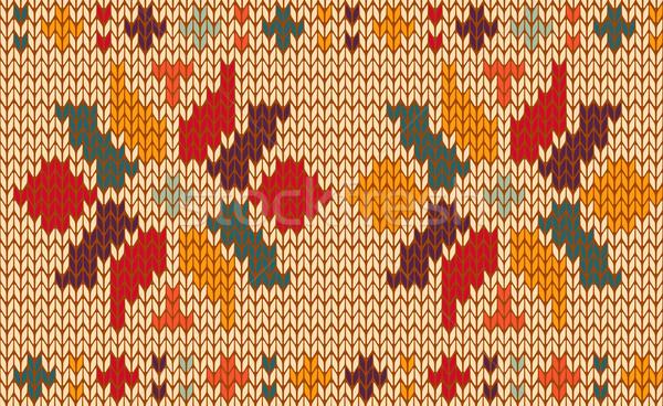Retro floral gestrickt Muster Jahrgang Stricken Stock foto © cienpies