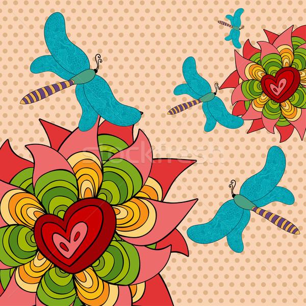 Vibrante primavera mariposa flores vector archivo Foto stock © cienpies