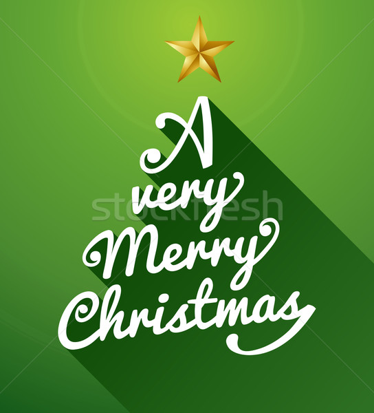 A very Merry Christmas tree text composition illustration. Stock photo © cienpies