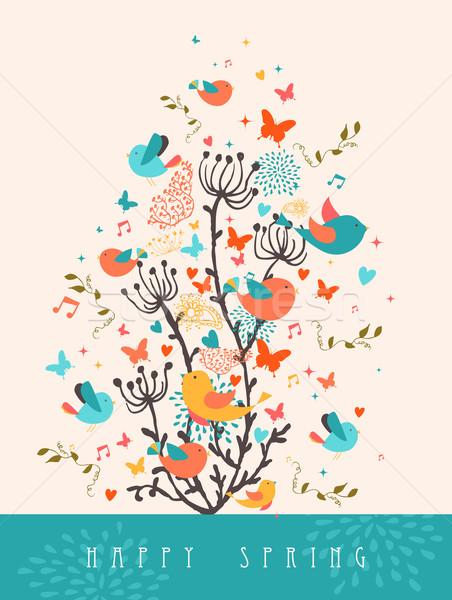 幸せ 春 グリーティングカード 実例 はがき カラフル ストックフォト © cienpies