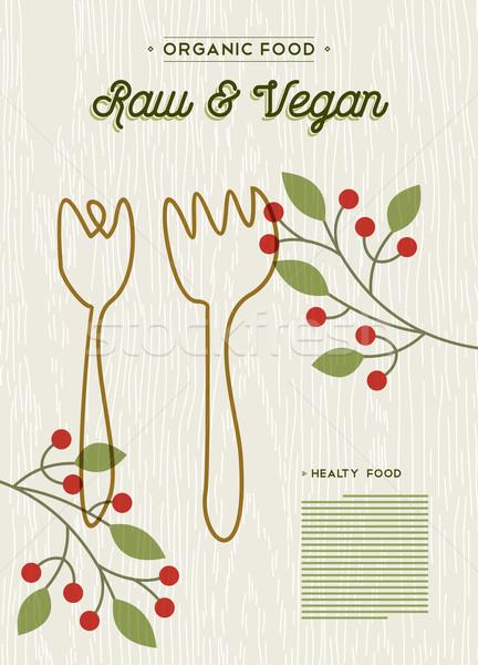 Raw and vegan organic food restaurant menu design Stock photo © cienpies