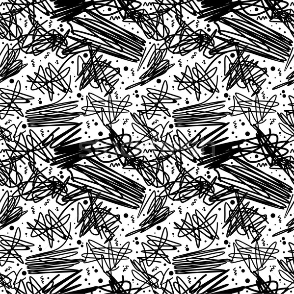 Black and white pattern in 80s style with doodles Stock photo © cienpies