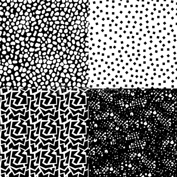 Set of retro seamless pattern in black and white Foto stock © cienpies