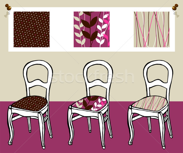 Three upholstered chairs Stock photo © cienpies