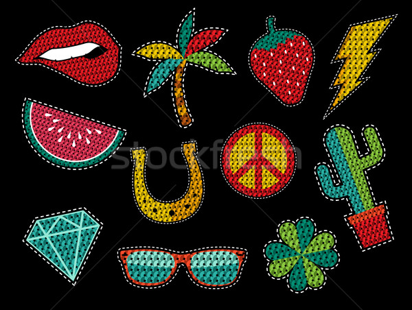 Set of sequin pop art summer patch icons Stock photo © cienpies