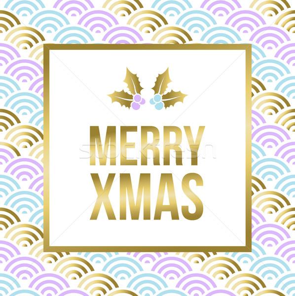 Gold Weihnachten Design Mistel heiter modernen Stock foto © cienpies