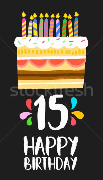 Gelukkige verjaardag cake kaart 15 vijftien jaar Stockfoto © cienpies