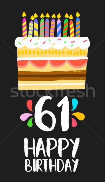 Gelukkige verjaardag kaart zestig een jaar cake Stockfoto © cienpies