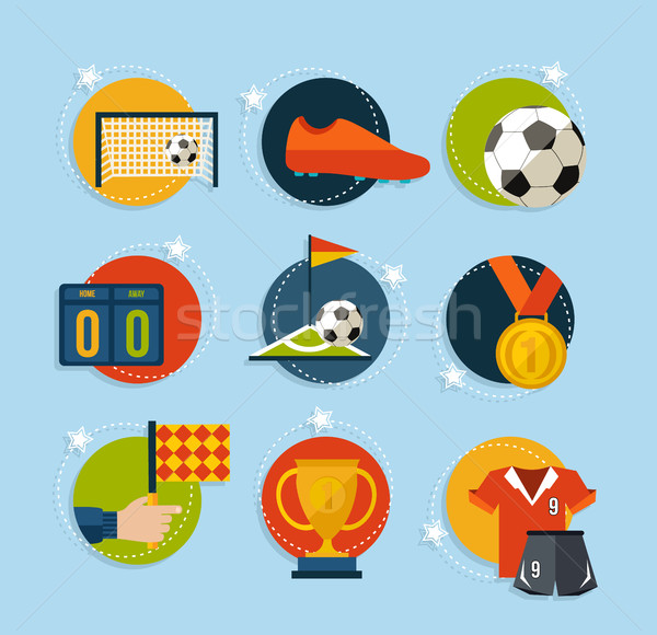 Soccer game icon set in flat style  Stock photo © cienpies