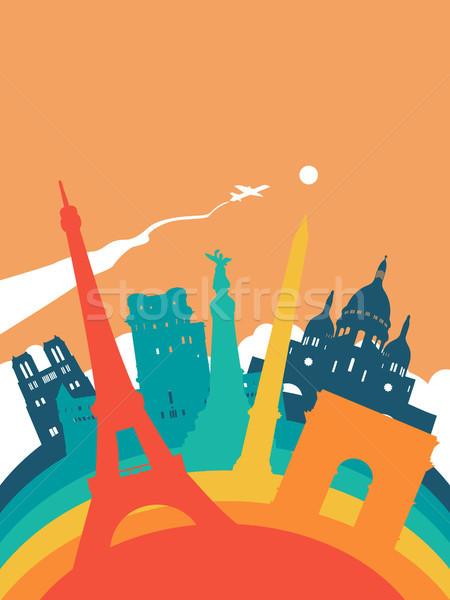 Podróży świat punkt orientacyjny krajobraz ilustracja francuski Zdjęcia stock © cienpies