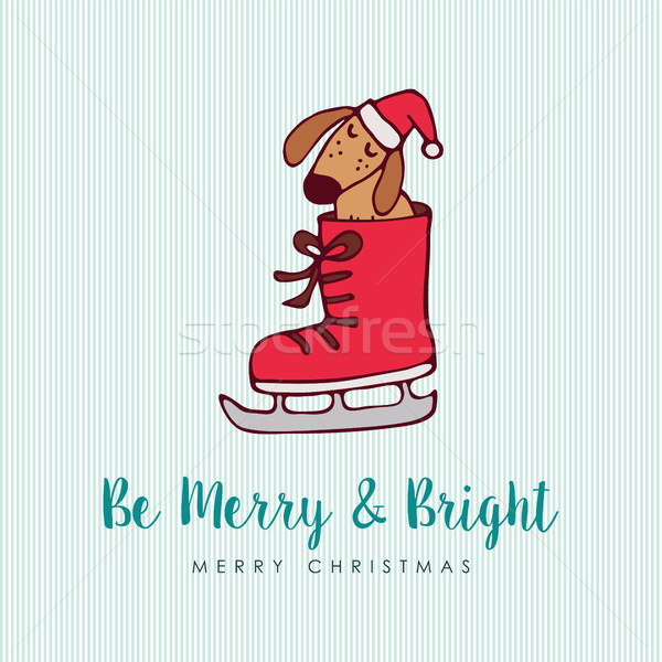 Funny Christmas puppy dog cartoon greeting card Stock photo © cienpies