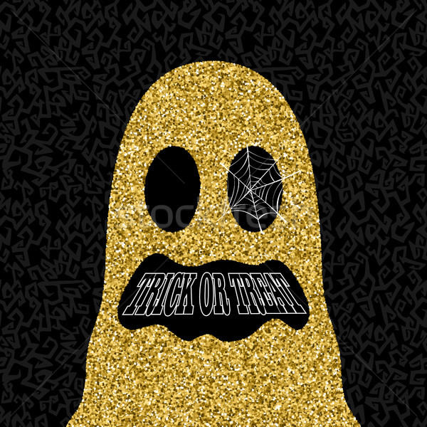 Gold Halloween trick or treat ghost illustration Stock photo © cienpies