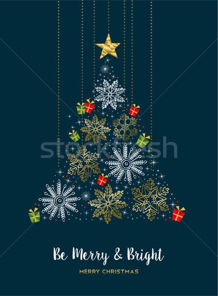 Neşeli Noel altın kış kar çam ağacı Stok fotoğraf © cienpies