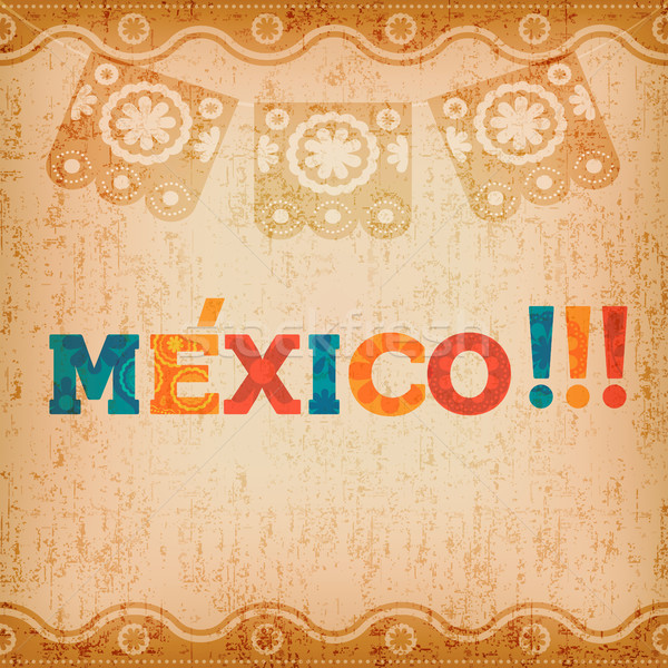 Feliz México tarjeta de felicitación mexicano vacaciones tipografía Foto stock © cienpies