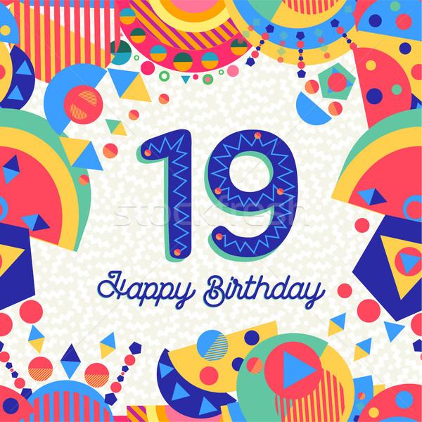 On dokuz 19 yıl doğum günü tebrik kartı numara Stok fotoğraf © cienpies