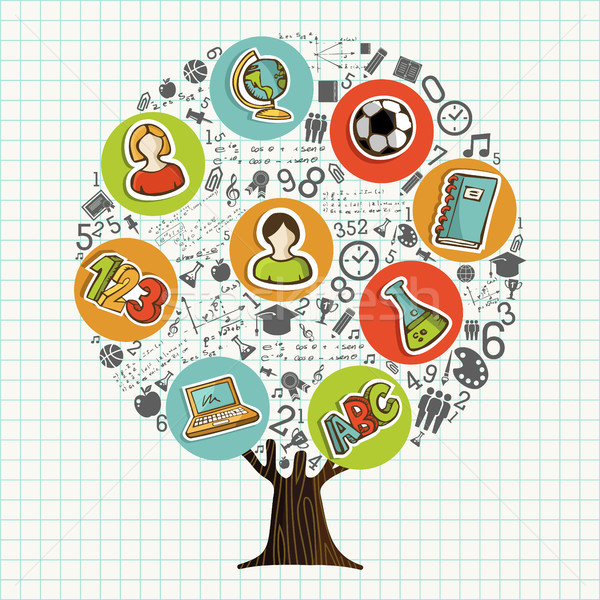 Tree made of school icons for education concept Stock photo © cienpies